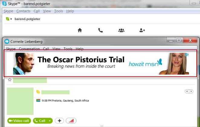 Howzit MSN milking the Oscar Trial for traffic on SKype